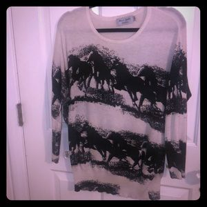 ModCloth horse print sweater can fit S/M/L
